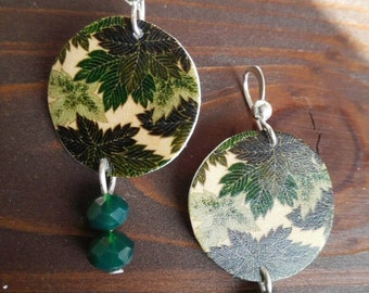 Lightweight shrink plastic earrings, leaf earrings, green earrings, gift idea for nature lovers, Polyshrink jewelry