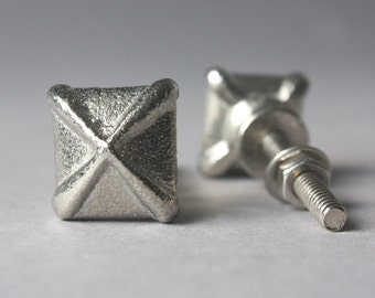 1 small iron knob silver grey, drawer pull, square shape, upcycling home decor, rustic