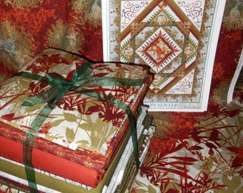 """ON SALE! Red Dreamscapes Quilt Kit 86""""X103""""! Large Floral Red w/ Gold Metallic In the Beginning by Jason Yenter"""