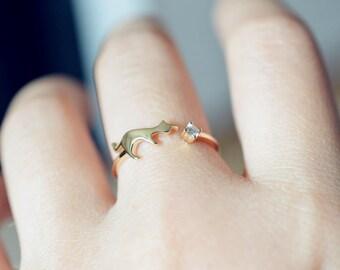 Cat Diamond Engagement Ring Cat Wedding Ring Cat Engagement Ring Rose Gold Cat Ring 18k gold 14k gold Cat engagement Ring Cat jewelry Ring