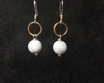 Howlite Earrings, Marble Earrings, Marble Jewellery, White Earrings, Sterling Silver Earrings, Gold Earrings, Earrings
