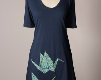 paper crane dress, origami t-shirt dress, origami paper crane tunic, origami dress
