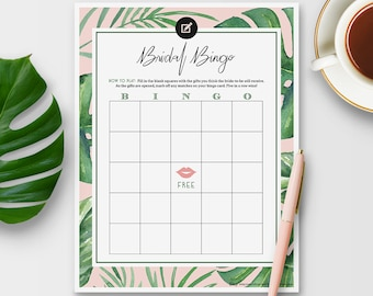 Bingo Game for Bridal Shower - Tropical Theme - Instant Printable Download
