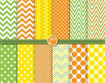 St.Patrick's digital paper pack,Chevrons,Polka Dots,Green,Yellow and Orange digital paper for Scrapbooking,Cards,paper,Invitations Dp074