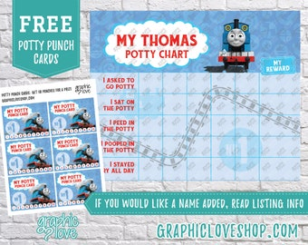 Printable Thomas the Train Potty Training Chart, FREE Punch Cards | High Resolution JPG File, Instant Download, Ready To Print, NOT Editable
