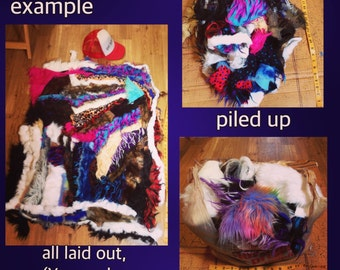 FauxFur Scrap Bag - Only SMALL pieces - scraps art craft costume diy projects monster fake fun vegan fur multicolored  FREE Shipping in Usa