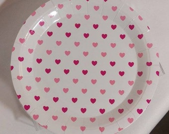8 x Pink plates paper plates heart theme pink party decor disposable : pink disposable plates - pezcame.com