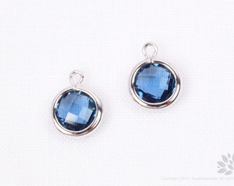 F127-02-S-MO// Rhodium Plated Montana Faceted Round Glass Pendant, 2 pcs