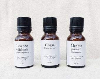 Trio essentiel: ensemble d'huiles essentielles — 3 bouteilles de 15 ml chacune