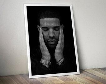 Drake Poster Music Song Lyric Typography Word Art Print