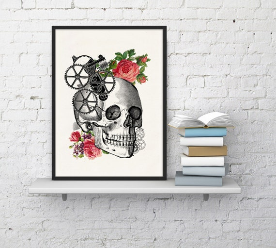Wall art Human skull with roses Print Giclee prints wall art-Skull and roses prints wall decor art  dorm gift SKA004WA4