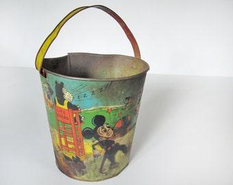 Vintage Mickey Mouse, Krazy Kat sand pail, tin litho sand toy, J. Chein 1930s unauthorized Disney, 8 inch, Disneyana, Minnie Mouse, beach