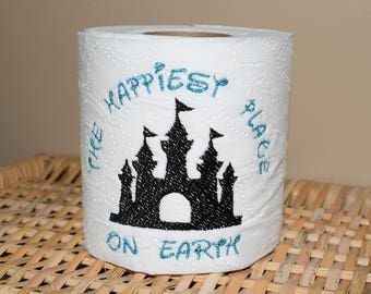 Instant Download: The Happiest Place on Earth, Castle Toilet Paper Machine Embroidery Design + TP Hooping Instructions