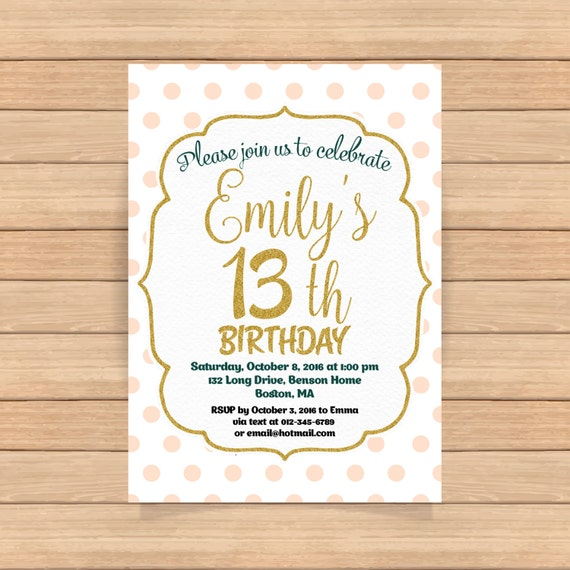 13th Birthday Invitation Girl Pink Gold Birthday Invitations