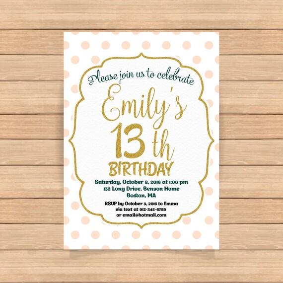13th birthday invitation girl pink gold birthday invitations