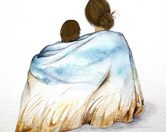 mother and son art print brown hair