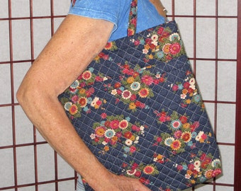 Handy Tote Quilted Japanese Fabric Floral and Stream Design Deep Blue