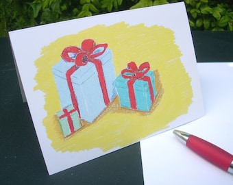 """Birthday card, invitation card, greeting card, greeting card, inside writable, limited edition, title """"Three gifts"""""""