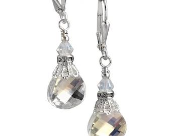 Vintage Crystal Earrings, Briolette Clear Boho Dangle Jewelry Earrings