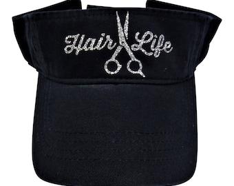 "NEW! Silver Glitter "" Hair Life ""  and Shears on Black Cotton Visor"
