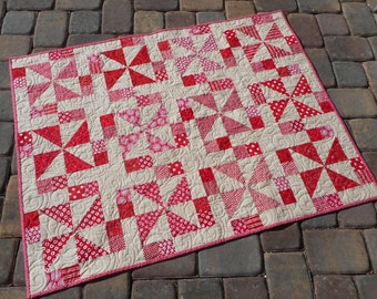 """Baby Quilt/Table Topper--Red Pinwheels, 36"""" x 48"""""""