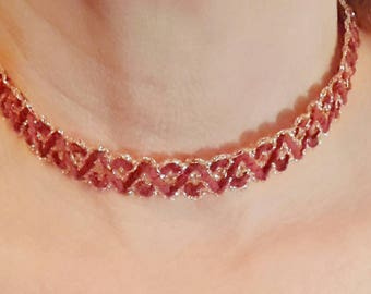 Red and gold lace choker