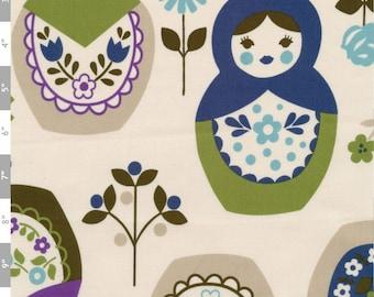 Russian Nesting Dolls in Purples\/Blues - Japanese CUTE Fabric - Half Yard