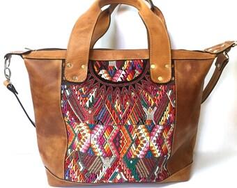 CUSTOM *Classic* Convertible Day Bag~Leather and Huipil Bag~Diaper Bag~Leather Bag~Leather Tote~Leather Purse~Guatemala~Travel Bag~Custom