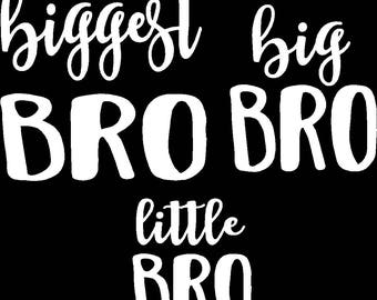 Set of 3 iron on decals Biggest Bro, Big Bro and Little Bro