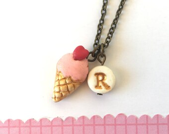 Ice cream Necklace, Icecream necklace for girl, birthday gift for 5 years old girl, BFF Necklace, Ice cream and muffin, letter, initial