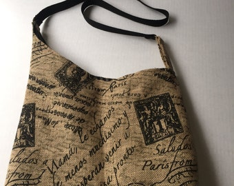 Washable Burlap CrossBody Purse or shopping tote, messanger bag