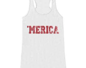 Merica Tank Top - 'Merica Fourth of July Tank - Women's 4th of July Tank Top - White Tank - Fourth of July - American Pride - Red Merica