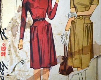 Vintage 1950s Sewing Pattern Simplicity 1407 Misses' Dress UNCUT Complete