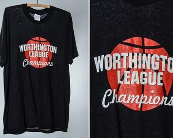 Vintage Ohio T Shirt Paper Thin Vintage T Shirt Large Vintage Black Basketball T Shirt Worthington League Champions Columbus Ohio 5AA