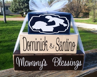 Mommy moms mamas blessings childrens names personalized wood block stacker set