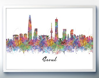 Seoul Skyline Watercolor Art Poster Print - Wall Decor - Watercolor Painting - Illustration -Home Decor-Office Decor - Kitchen Decor