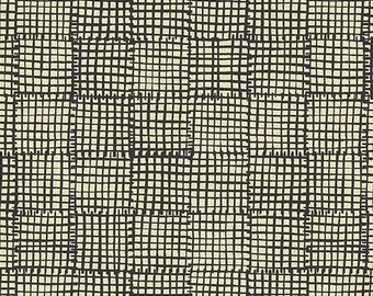 Maker Maker - Grid Black - Sarah Golden - Andover Fabrics - Quilting Weight Linen/Cotton - Canvas/Home Dec - Fabric by the Half Yard