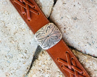 Brown Leather Cuff with Flower Concho, Boho Cuff, Handmade, Gifts for Her