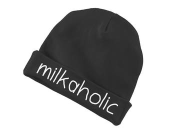 Milkaholic Funny Cotton Beanie For Infants