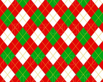 Christmas Red Argyle- Red Green Argyle - Digital Argyle - 300 DPI- 300 DPI JPEG-Digital Scrapbook - Scrapbooking - Christmas Argyle