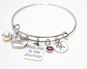 retirement bracelet, retirement gift, retirement jewelry, retirement bangle, happy retirement gift, happy retirement jewelry, retirement