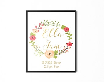 Girls floral wreath birth print, custom name print with real gold foil
