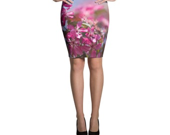 Pencil skirts for women Printed skirt Unique skirts Knee length skirts Midi pink skirt Women's floral skirt Women clothing spring summer