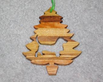 Wood Christmas Tree Dog Ornament -  Basset Hound