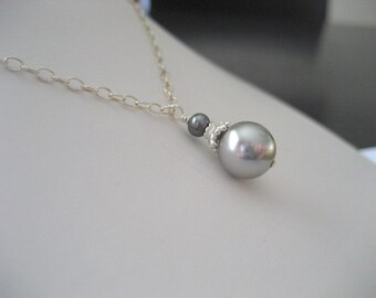 Simple Swarovski and Freshwater Pearl Pendant Necklace...with free matching earrings...FREE SHIPPING