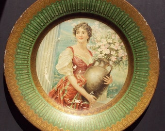 Antique - Lithographed Tin Plate Beautiful Lady 1907