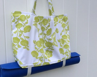 White and Chartreuse Cloth Yoga Tote Bag with pockets