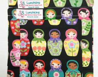 Snack Bags RUSSIAN DOLLS Re-Usable Washable with Closure Options