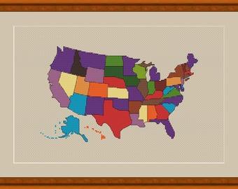 USA Map Cross Stitch World Map Xstitch Modern Cross Stitch Pattern Easy Cross Stitch Pattern Beginner Pattern Modern Xstitchline