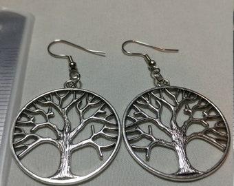 tree of life earring, hoop